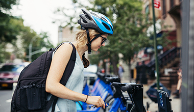 Girl Unlocking Citi Bike